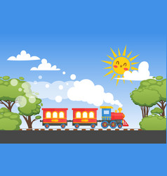 Children train ride on child railway funny sun vector