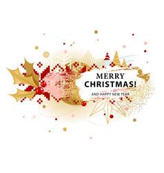 Christmas card with holly vector
