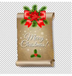 Christmas old paper banner transparent background vector