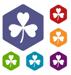 Clover rhombus icons vector image