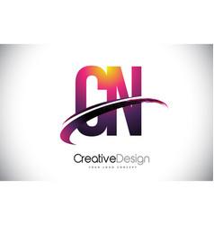 Cn c n purple letter logo with swoosh design vector