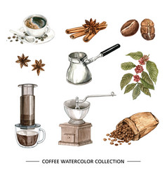 Coffee watercolor collection design on white vector