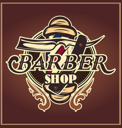 color badge with barber and accessories for the vector image