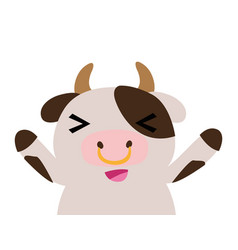 Colorful adorable and cheerful cow wild animal vector