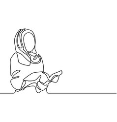 Continuous line islamic woman read a book muslim vector