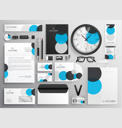 creative circle stationery set for business vector image