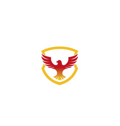 creative red eagle shield logo vector image