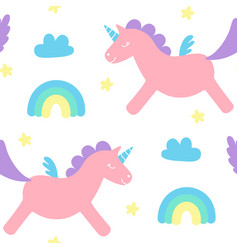 cute fluffy flying unicorn seamless pattern vector image