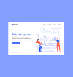 data management analysis chart business landing vector image