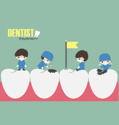 Dentists check up in your teeth vector