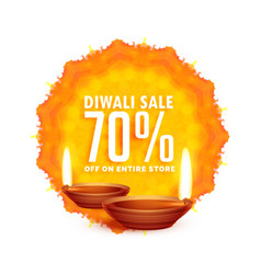 Diwali sale background with diya vector