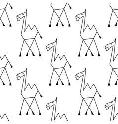 Doodle sketch african camel seamless pattern vector image