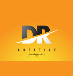 Dr d r letter modern logo design with yellow vector