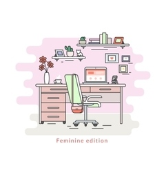 Feminine workplace room interior vector image