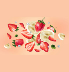 Flying slices banana and strawberries and water vector
