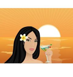 girl with a cocktail at sunset vector image