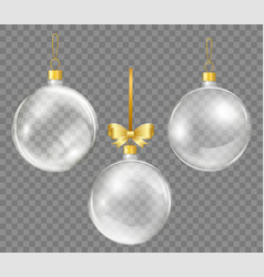 glass transparent christmas ball with gold ribbon vector image