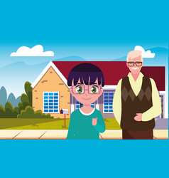 Grandpa with grandson front home vector