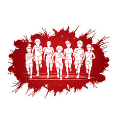 group children running together cartoon graphic vector image