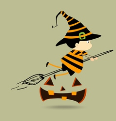 Halloween kids witch girl character vector