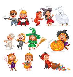 Happy halloween funny little children vector