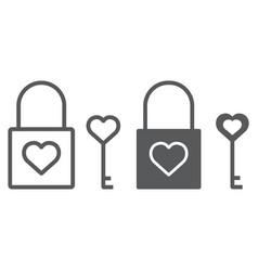 heart lock line and glyph icon valentine vector image