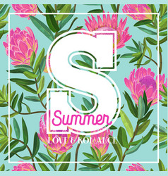 Hello summer tropical design floral vintage vector