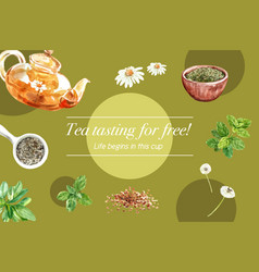 Herbal tea frame design with chamomile mint tea vector