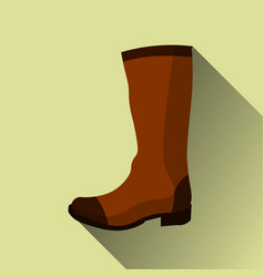 Hight boots icon with long shadow on yellow vector
