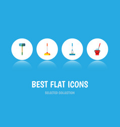 Icon flat broomstick set of mop sweep broomstick vector