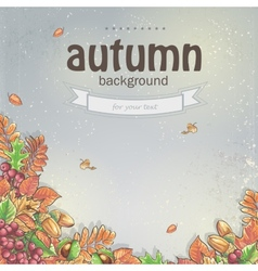 Image of autumn background with maple leaves oak vector