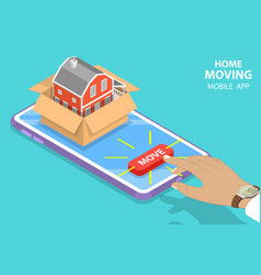 Isometric flat concept home moving vector
