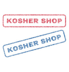 Kosher shop textile stamps vector