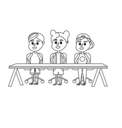 line children student sitting in the wood desk vector image