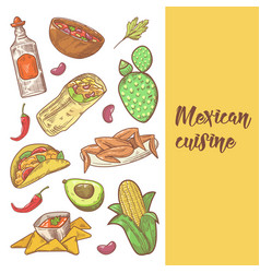 mexican food hand drawn doodle vector image