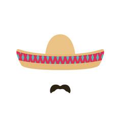 mexican man with sombrero and mustache sombrero vector image