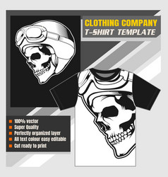 mock up clothing company t-shirt template skull vector image
