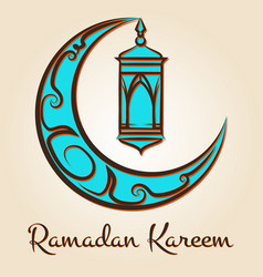 moon and lamp ramadan kareem emblem vector image vector image