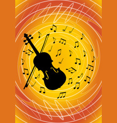 musical flyer design with black violin silhouette vector image