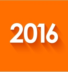 New year 2016 in flat style on orange background vector
