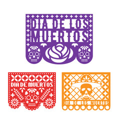 Papel picado mexican paper decoration for dia de vector