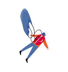 Parachute jumper with a red backpack flying with a vector