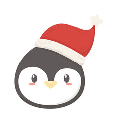 penguin face with hat celebration merry christmas vector image