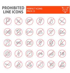 prohibited thin line icon set warning symbols vector image