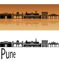 Pune skyline in orange vector