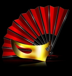 red fan and golden mask vector image