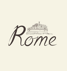 Rome city background landmark lettering travel vector