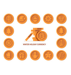 santa claus crypto currency coins christmas winter vector image