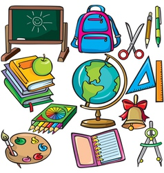 School accessories icons set vector