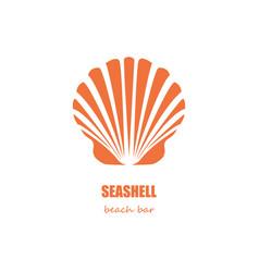 Seashell beach bar company logo vector
